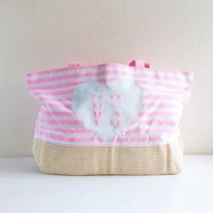 Victoria's Secret VS - Pink Stripes Tote Bag